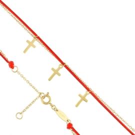 Bransoletka - czerwony sznurek - Blueberry BP4374