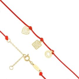 Bransoletka - czerwony sznurek - Blueberry BP4377