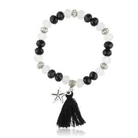 Bransoletka z kryształkami - czarna - BRA1303