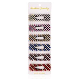 Spinki z kolorowymi kryształkami 6,5cm 6szt OS449