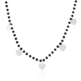 Celebrytka - czarne koraliki - serca - CP2263
