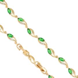 Bransoletka - zielone kryształki - Xuping BP4504