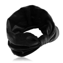 Opaska aksamitna - z węzłem - czerń - OPS199