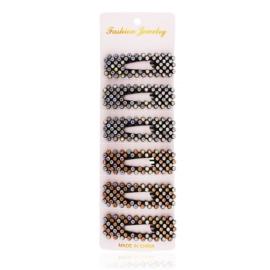 Spinki do włosów czarne - kryształki - 6szt OS456