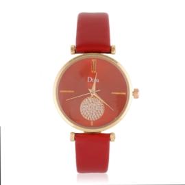 Zegarek damski na czerwonym pasku - Z1061