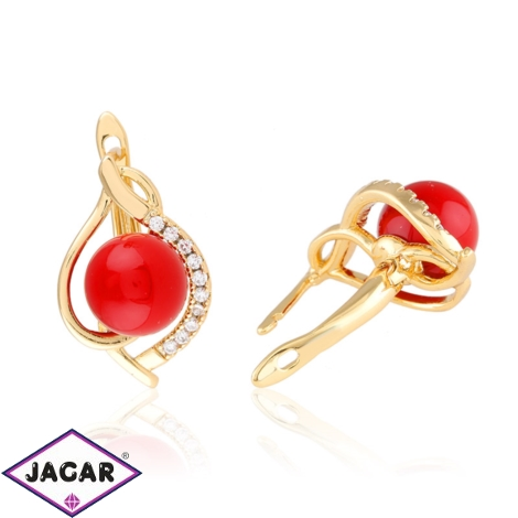 Kolczyki - czerwona perełka - Xuping EAP10872