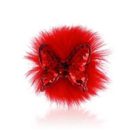 Spinki edytki czerwony cekinowy motylek 2szt OS462