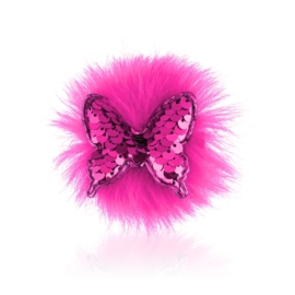 Spinki edytki różowy cekinowy motylek 2szt OS463