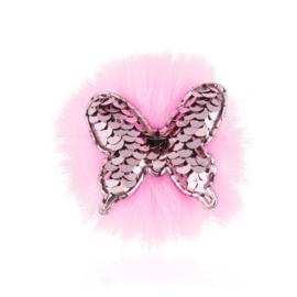 Spinki edytki j.różowy cekinowy motylek 2szt OS464