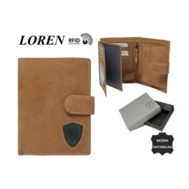 Portfel męski skórzany N4L-STL L.BRN/BLK - P907
