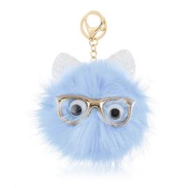 Brelok futrzany - okularnik - pompon blue PU215