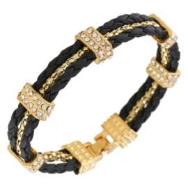 Bransoletka sznurek z kryształkami - BRA1374