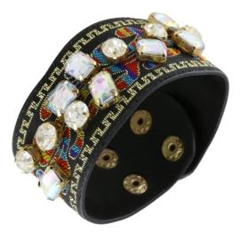 Bransoletka na pasku z haftem - kryształki BRA1376