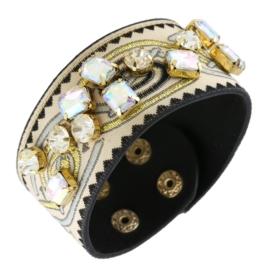 Bransoletka na pasku z haftem - kryształki BRA1377
