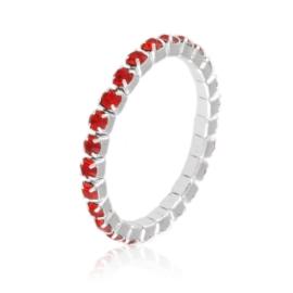 Pierścionek kryształki na gumce - czerwień PIER100