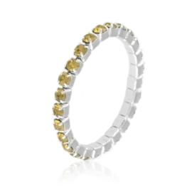 Pierścionek kryształki na gumce - żółty PIER101