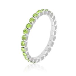 Pierścionek kryształki na gumce - zieleń PIER99