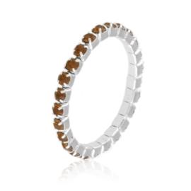 Pierścionek kryształki na gumce - brąz PIER108