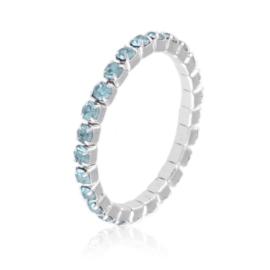 Pierścionek kryształki na gumce - błękit PIER109