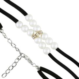 Bransoletka - białe perełki na sznurku - BRA1383