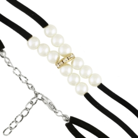 Bransoletka - perełki ecru na sznurku - BRA1384