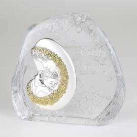 Przycisk szklany Pamiątka Chrztu 11x11,5cm PS14