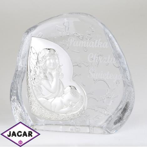 Przycisk szklany Pamiątka Chrztu 11,5x11,5cm PS15