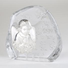 Przycisk szklany Pamiątka Chrztu 11,5x11,5cm PS17