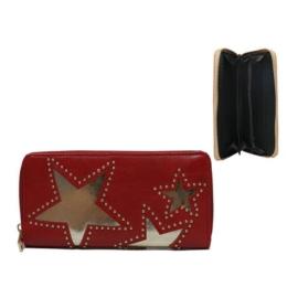Portfel damski z ekoskóry stars - red P987