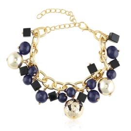 Bransoletka na łańcuchu - niebieskie kulki BRA1388