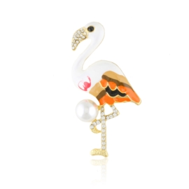 Broszka - kolorowy flaming z perłą - 5,5cm - BR436