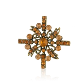 Broszka - pomarańczowe kryształy - 4,7cm - BR442