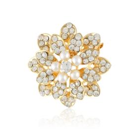 Broszka - kryształowy kwiat z perłami - 4cm BR452