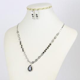 Komplet biżuterii - czarne kryształki KOM152
