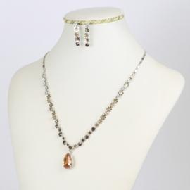 Komplet biżuterii - bursztynowe kryształki KOM153