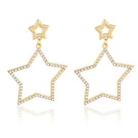 Kolczyki wiszące gwiazdy - kryształki - EA2349