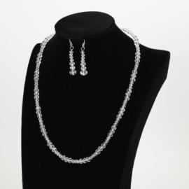 Komplet biżuterii - bursztynowe kryształki KOM157