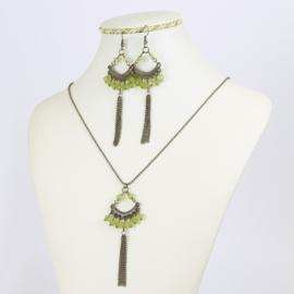 Komplet biżuterii - zielone kryształki - KOM162