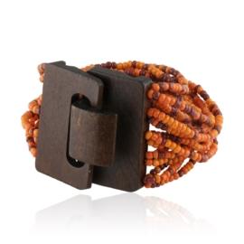 Bransoletka drewniana z koralikami - BRA1392