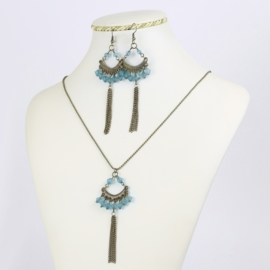 Komplet biżuterii - niebieskie kryształki - KOM163