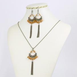 Komplet biżuterii - pomarańczowe kryształki KOM164