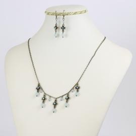 Komplet biżuterii - niebieskie kuleczki KOM165