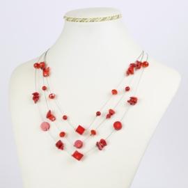 Naszyjnik - czerwone kamienie - NA1557
