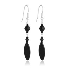 Kolczyki perła czarna szlifowana 7cm - PEK106