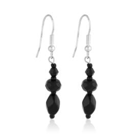 Kolczyki perła czarna szlifowana 5cm - PEK112
