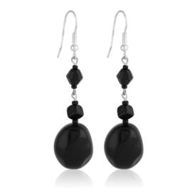 Kolczyki perła czarna szlifowana 5,5cm - PEK114