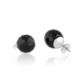 Kolczyki perła czarna szlifowana 0,9cm - PEK122