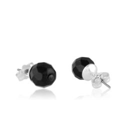 Kolczyki perła czarna szlifowana 0,7cm - PEK123