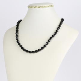 Naszyjnik perła czarna szlifowana - 45cm PER411