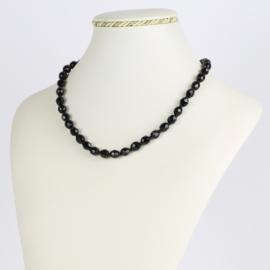 Naszyjnik perła czarna szlifowana - 40cm PER412